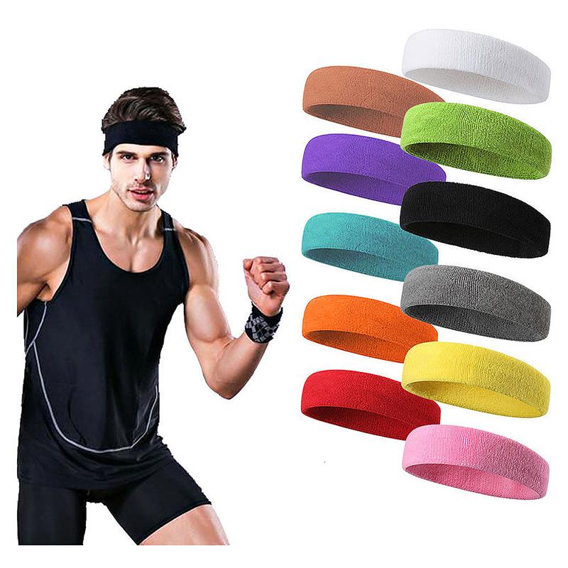 Unisex Sports Cotton Sweatband Headband Fashion Yoga Gym Stretch Hair Band - Blue