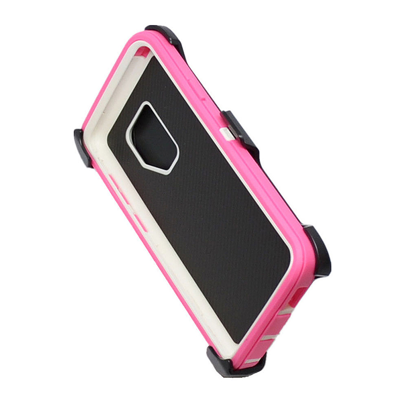 Shockproof Dirtproof Hybrid Hard Phone Cover TPU Rugged Armor Case for Samsung S9 - Pink + White