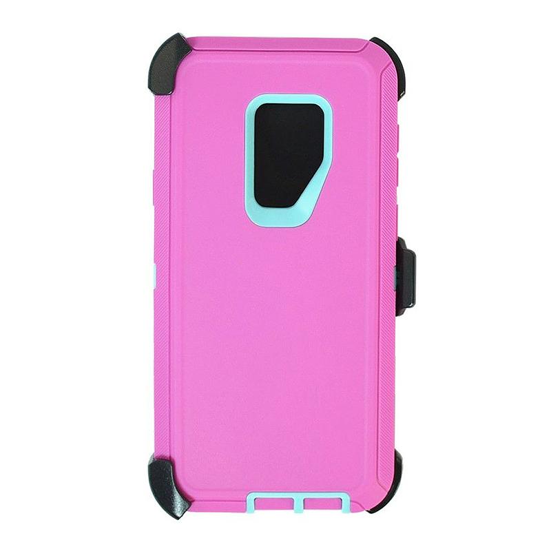 Shockproof Dirtproof Hybrid Hard Phone Cover TPU Rugged Armor Case for Samsung S9 - Pink + Blue