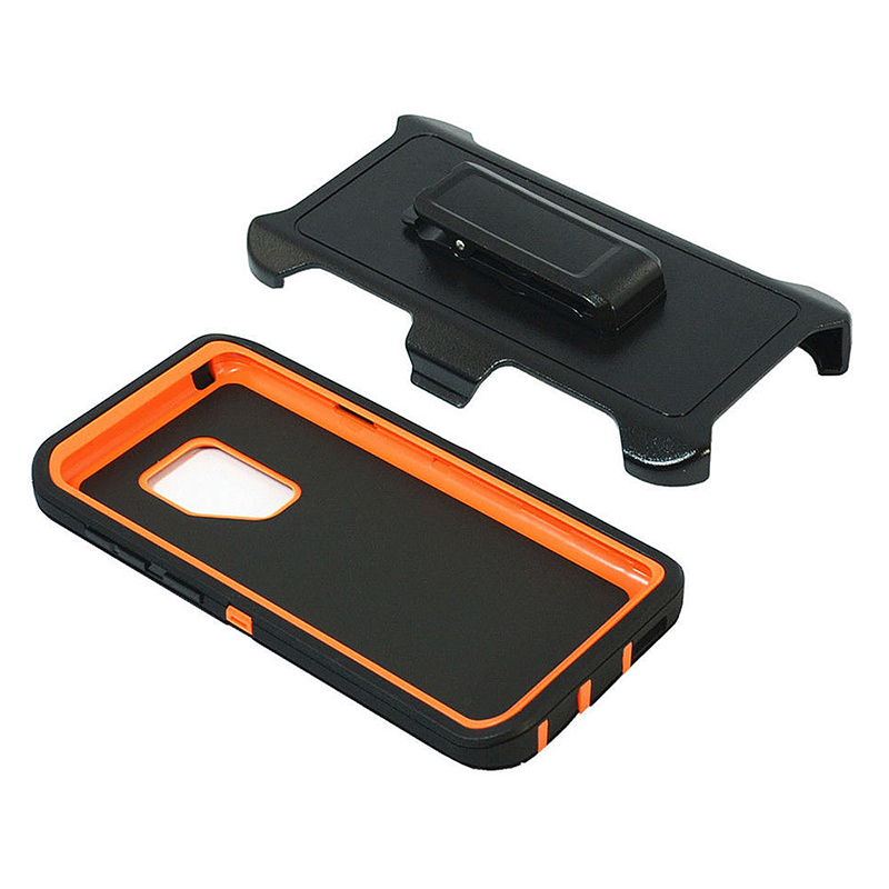 Shockproof Dirtproof Hybrid Hard Phone Cover TPU Rugged Armor Case for Samsung S9 - Black + Orange