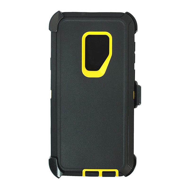 Shockproof Dirtproof Hybrid Hard Phone Cover TPU Rugged Armor Case for Samsung S9 - Black + Yellow