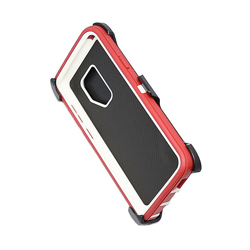 Shockproof Dirtproof Hybrid Hard Phone Cover TPU Rugged Armor Case for Samsung S9 - Red + White