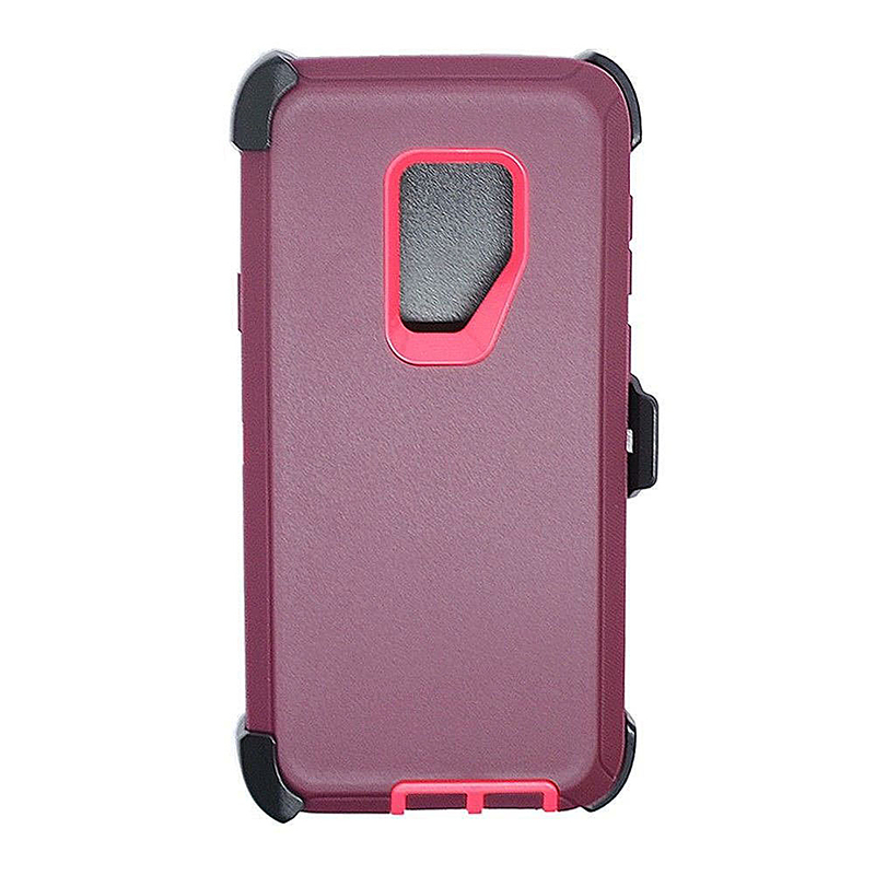 Shockproof Dirtproof Hybrid Hard Phone Cover TPU Rugged Armor Case for Samsung S9 - Red + Pink