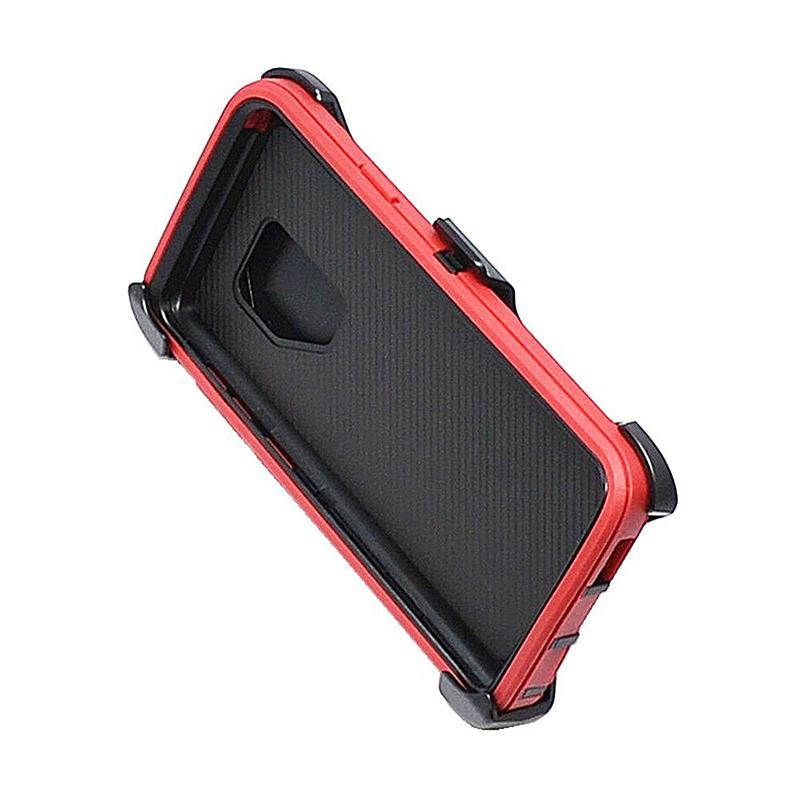 Shockproof Dirtproof Hybrid Hard Phone Cover TPU Rugged Armor Case for Samsung S9 - Red + Black