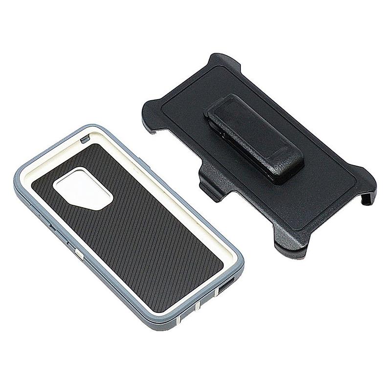 Shockproof Dirtproof Hybrid Hard Phone Cover TPU Rugged Armor Case for Samsung S9 - Grey + White
