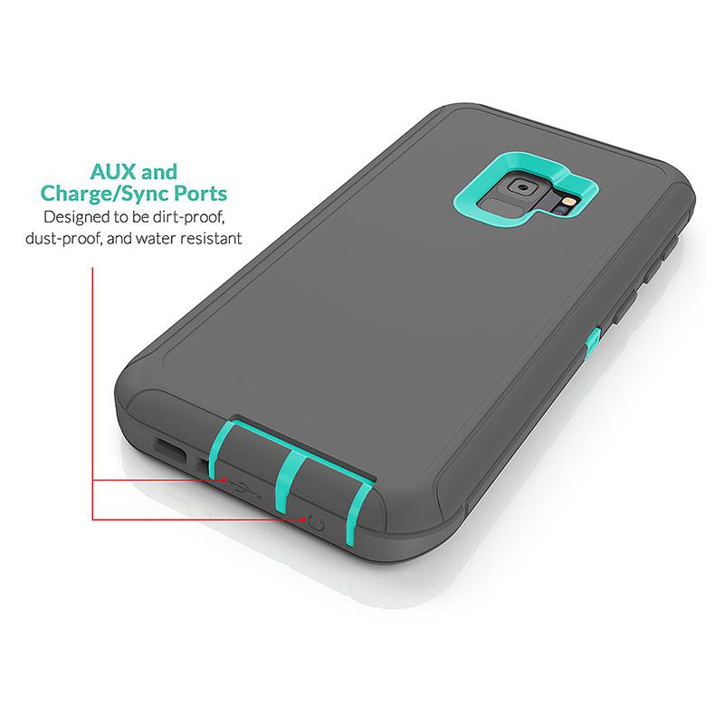 Shockproof Dirtproof Hybrid Hard Phone Cover TPU Rugged Armor Case for Samsung S9 - Grey + Blue