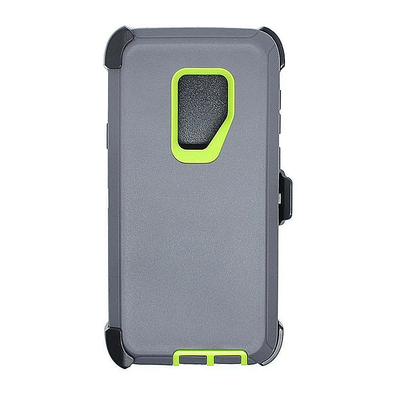 Shockproof Dirtproof Hybrid Hard Phone Cover TPU Rugged Armor Case for Samsung S9 - Grey + Green