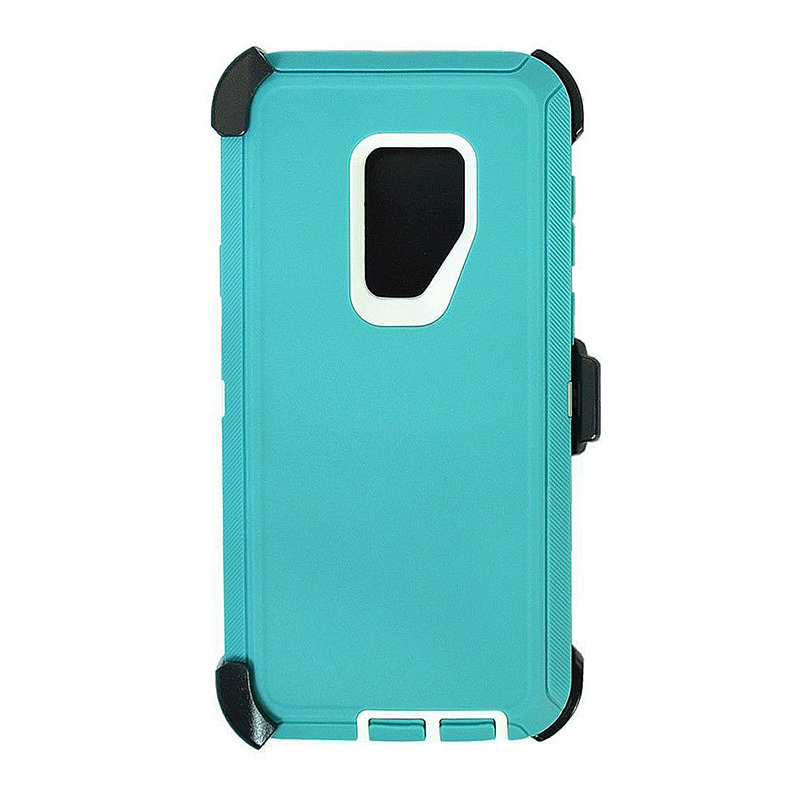 Shockproof Dirtproof Hybrid Hard Phone Cover TPU Rugged Armor Case for Samsung S9 - Blue + White