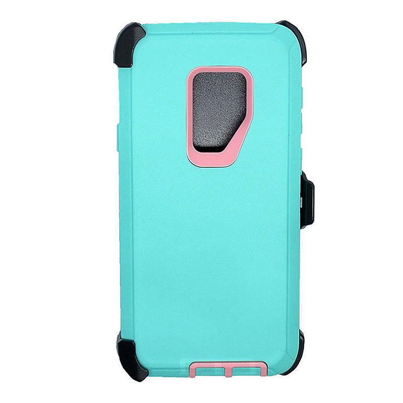 Shockproof Dirtproof Hybrid Hard Phone Cover TPU Rugged Armor Case for Samsung S9 - Blue + Pink