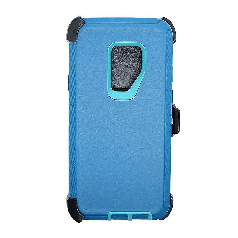 Shockproof Dirtproof Hybrid Hard Phone Cover TPU Rugged Armor Case for Samsung S9 - Green + Blue