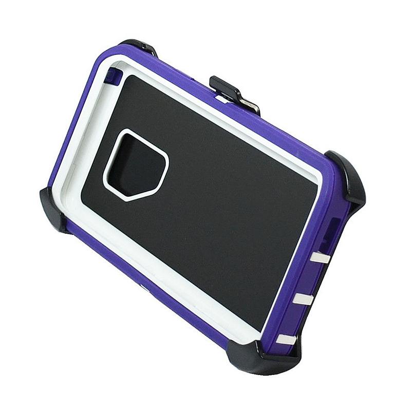 Shockproof Dirtproof Hybrid Hard Phone Cover TPU Rugged Armor Case for Samsung S9 - Purple + White