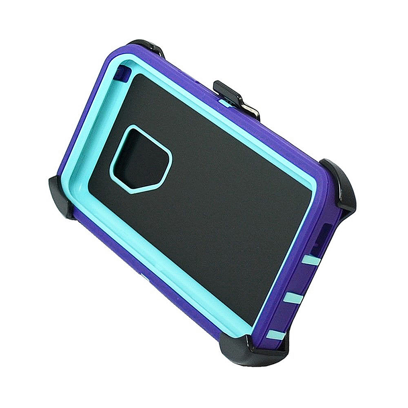 Shockproof Dirtproof Hybrid Hard Phone Cover TPU Rugged Armor Case for Samsung S9 - Purple + Blue