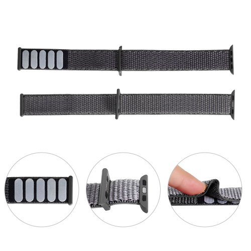38mm Apple Watch Band Sports Loop Woven Nylon Watchband Strap for iWatch Series 3/2/1 - Grey