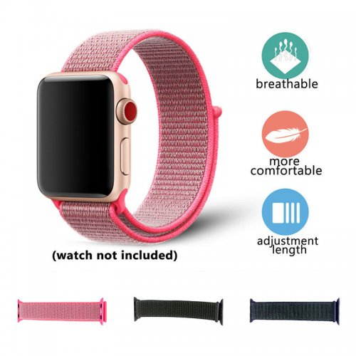 42mm Nylon Woven Replacement Watch Band Adjustable Sport Wristband Strap for Apple Watch - Brilliant Pink