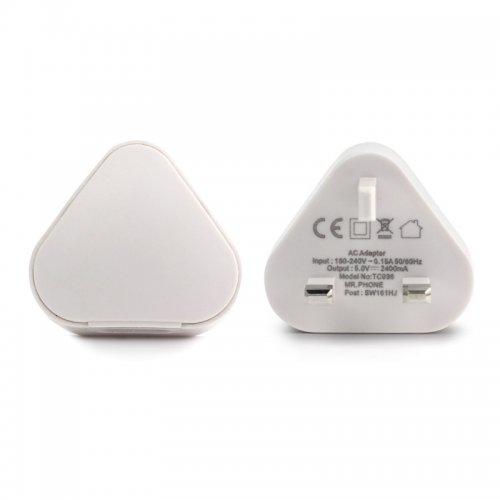TH53 2.4A USB UK Plug Phone Home Wall Charger AC Adaptor for iPhone Samsung Galaxy - White