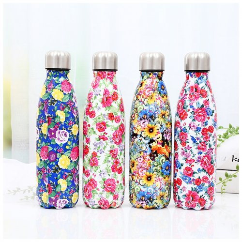 500ML Portable Stainless Steel Water Flask Flowers Pattern Double Wall Vacuum Insulated Bottle - Pattern 1