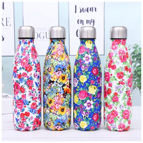 500ML Portable Stainless Steel Water Flask Flowers Pattern Double Wall Vacuum Insulated Bottle - Pattern 2