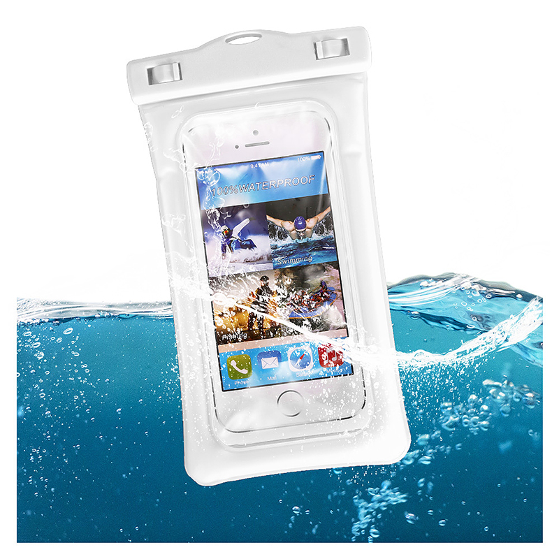 6 Inches Universal Inflatable Floating Waterproof Pouch Phone Dry Bag Case - White