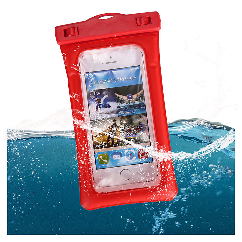 6 Inches Universal Inflatable Floating Waterproof Pouch Phone Dry Bag Case - Red