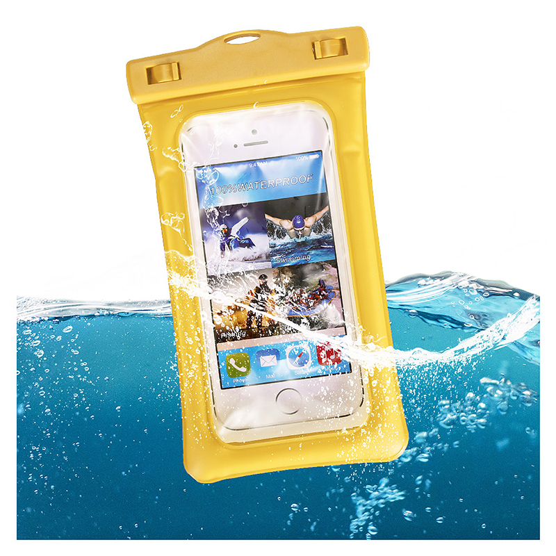 6 Inches Universal Inflatable Floating Waterproof Pouch Phone Dry Bag Case - Yellow