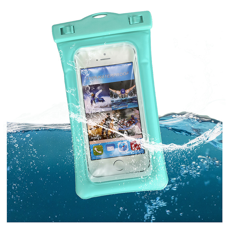 6 Inches Universal Inflatable Floating Waterproof Pouch Phone Dry Bag Case - Mint Green