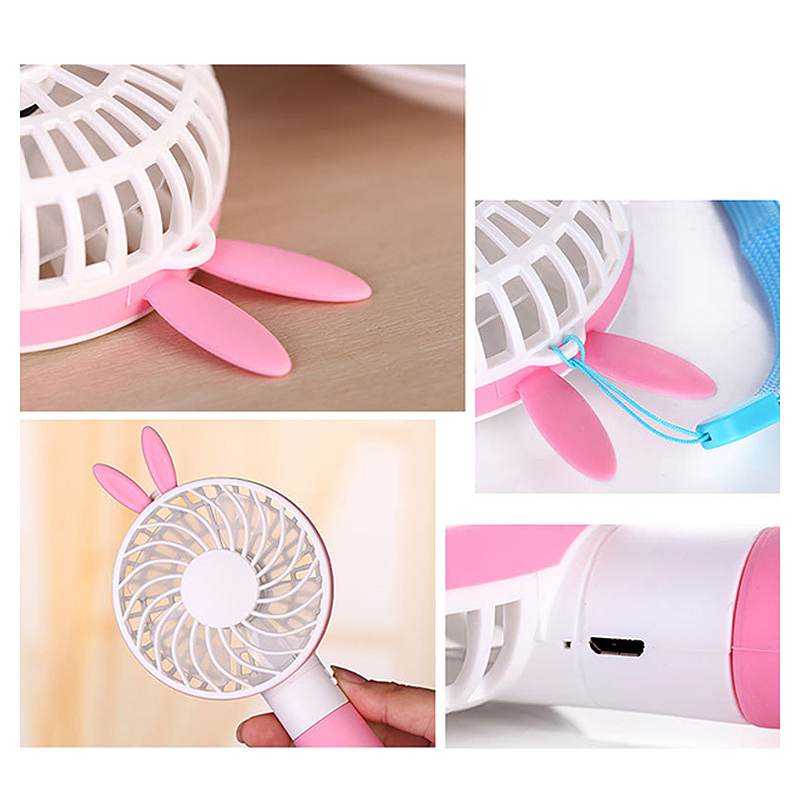 Rabbit Handheld Mini Fan Battery Operated USB Power Portable Cooler with Strap - Pink