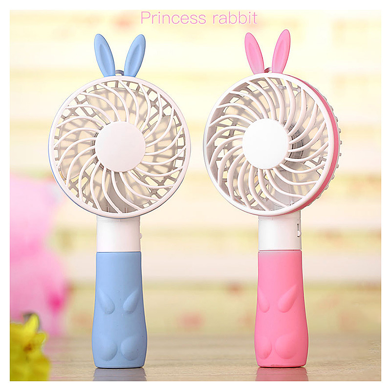 Rabbit Handheld Mini Fan Battery Operated USB Power Portable Cooler with Strap - Blue