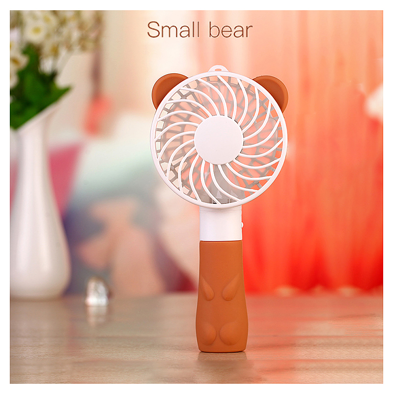 Portable Bear Handheld Mini Fan USB Rechargeable Air Cooler with Strap for Home Travel - Brown