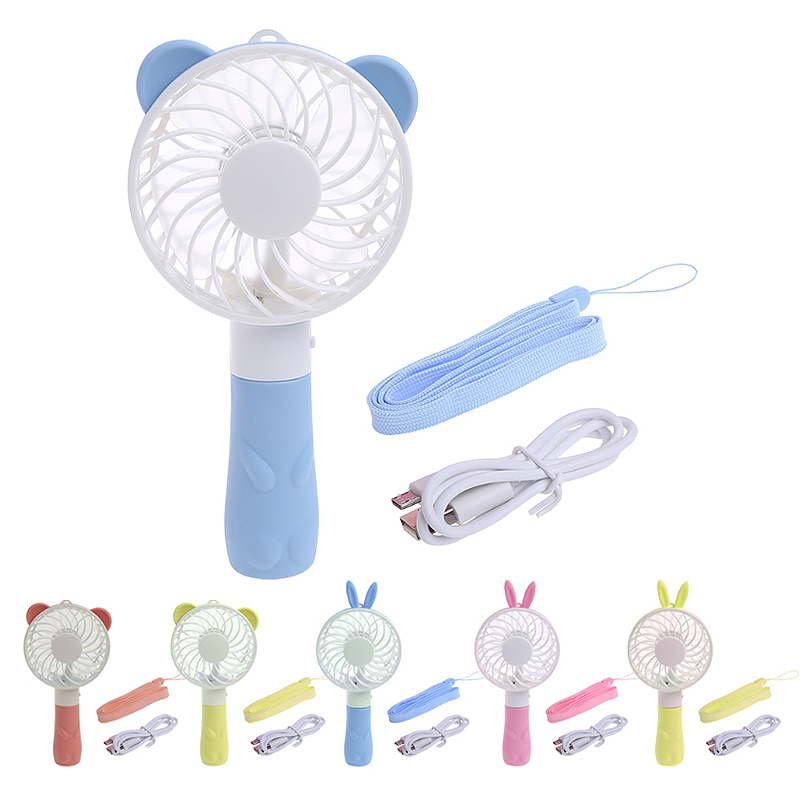 Portable Bear Handheld Mini Fan USB Rechargeable Air Cooler with Strap for Home Travel - Blue