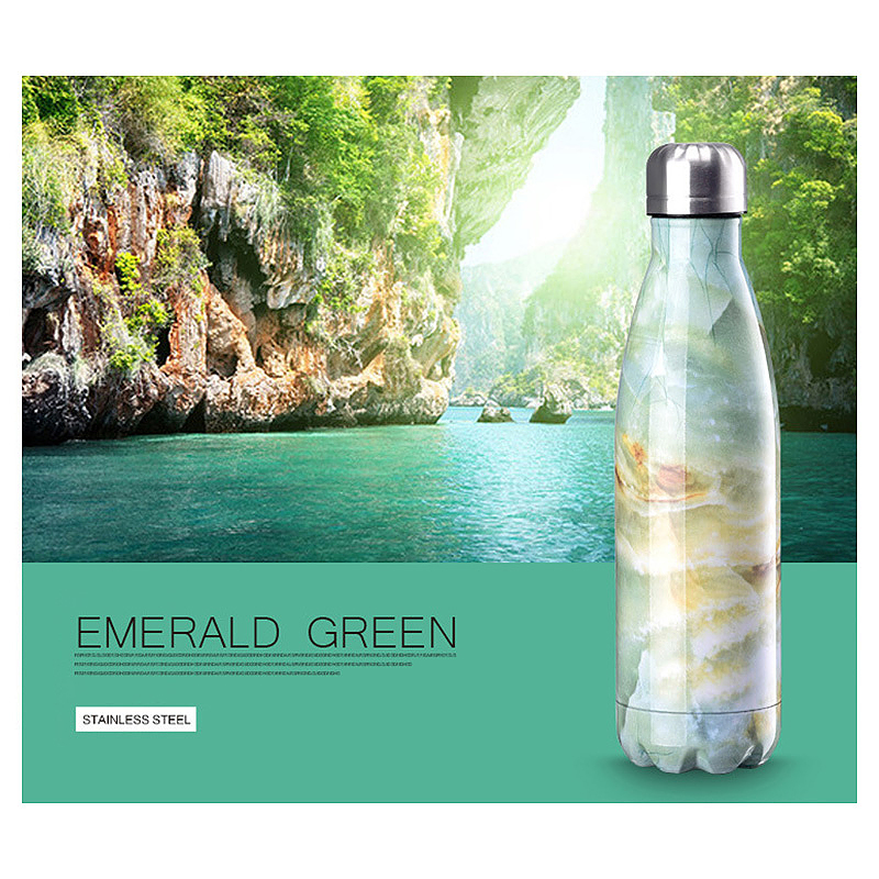 500ML Marble Pattern Water Flask Stainless Steel Double Wall Vacuum Insulated Bottle - Green