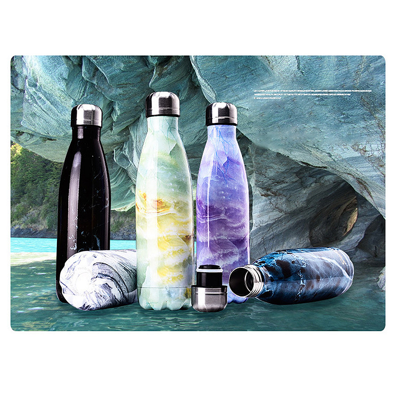 500ML Marble Pattern Water Flask Stainless Steel Double Wall Vacuum Insulated Bottle - Blue