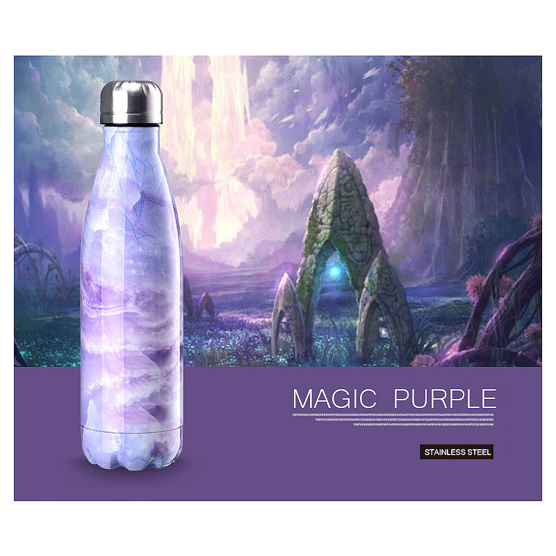 500ML Marble Pattern Water Flask Stainless Steel Double Wall Vacuum Insulated Bottle - Purple