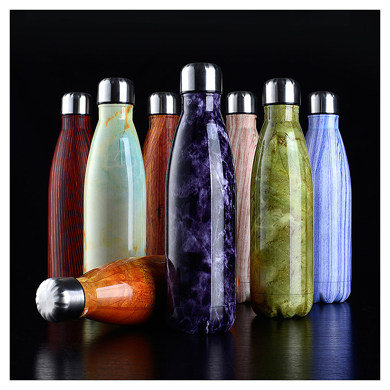 500ML Double Wall Stainless Vacuum Insulated Water Bottle with Wood Grain Pattern - Yellow