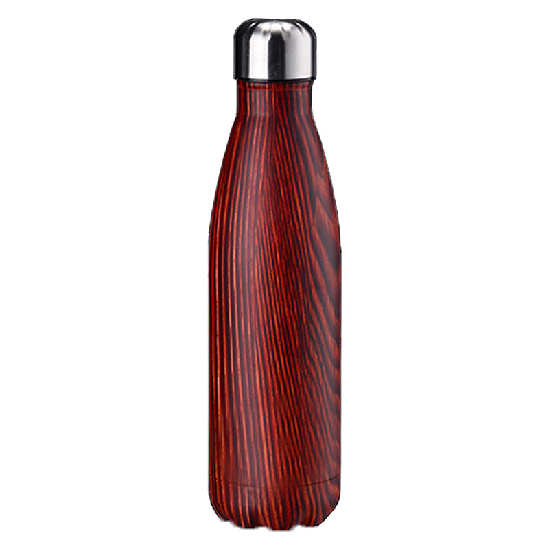 500ML Double Wall Stainless Vacuum Insulated Water Bottle with Wood Grain Pattern - Red