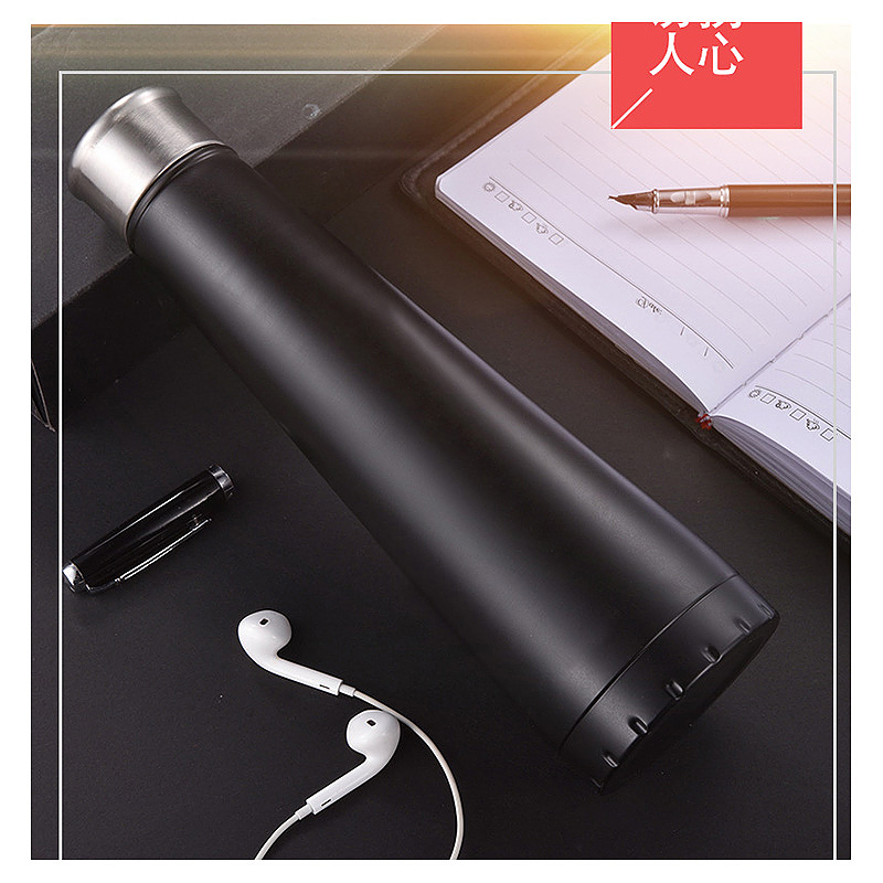 450ML Double Wall Stainless Steel Pyramid Vacuum Insulated Water Flask Bottle - Black