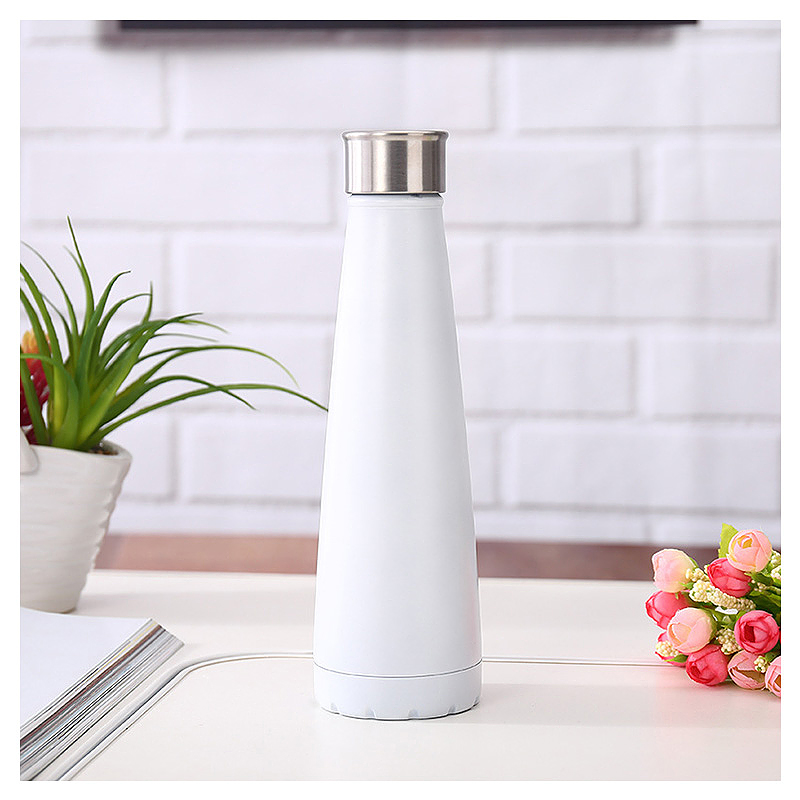 450ML Double Wall Stainless Steel Pyramid Vacuum Insulated Water Flask Bottle - White