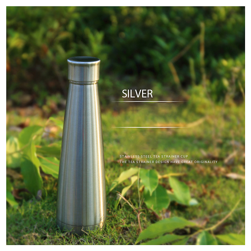 450ML Double Wall Stainless Steel Pyramid Vacuum Insulated Water Flask Bottle - Stainless Steel