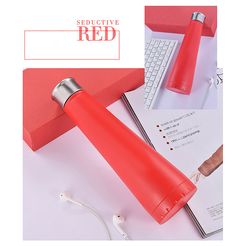 450ML Double Wall Stainless Steel Pyramid Vacuum Insulated Water Flask Bottle - Red