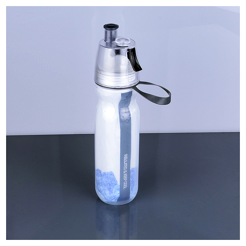 500ML Drinking Ice Cool Mist Spray Water Bottle for Outdoor Sports - Blue