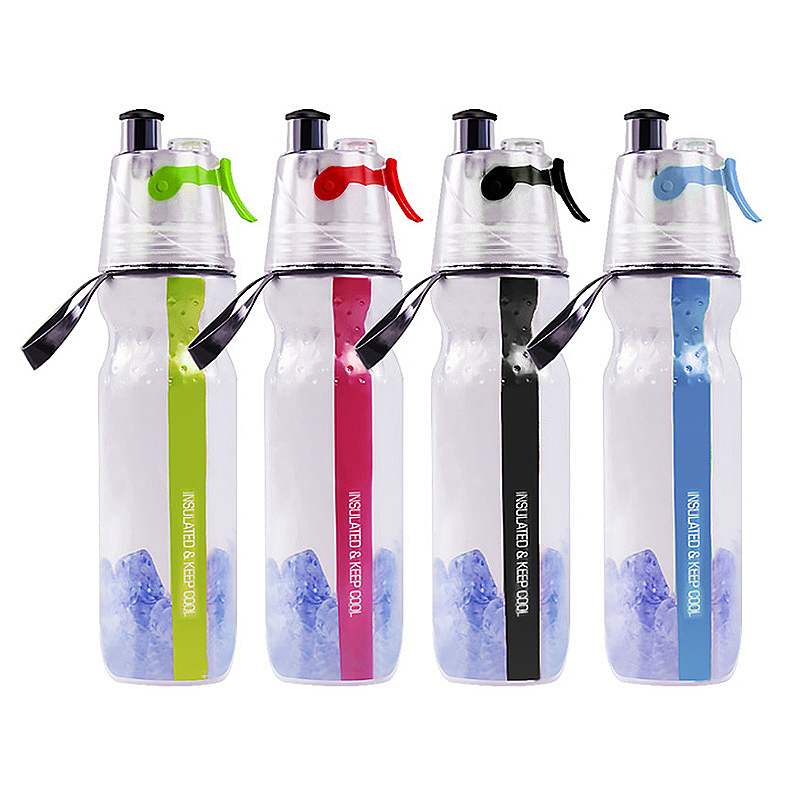 500ML Drinking Ice Cool Mist Spray Water Bottle for Outdoor Sports - Green