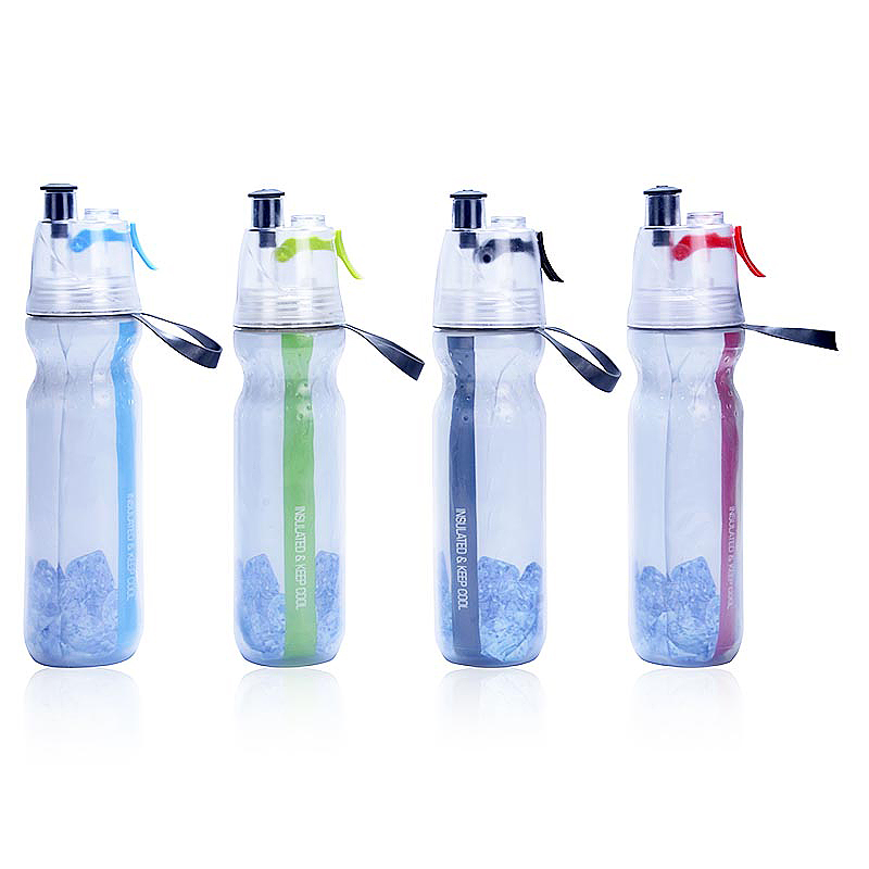 500ML Drinking Ice Cool Mist Spray Water Bottle for Outdoor Sports - Black