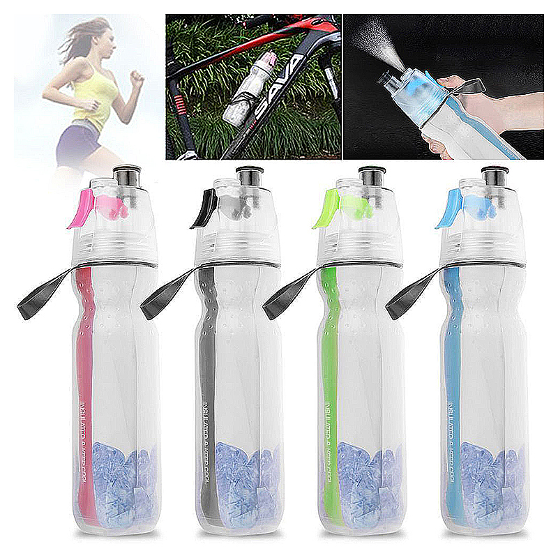 500ML Drinking Ice Cool Mist Spray Water Bottle for Outdoor Sports - Red