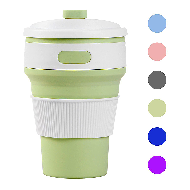 Collapsible Silicone Telescopic Water Bottle Foldable Portable Leakproof Cup - Green