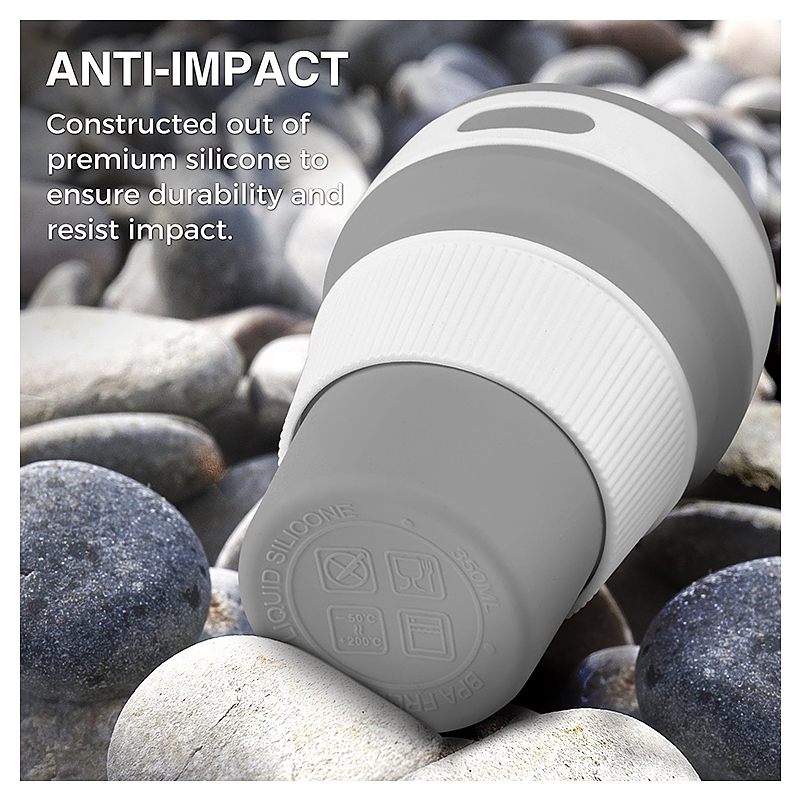 Collapsible Silicone Telescopic Water Bottle Foldable Portable Leakproof Cup - Grey