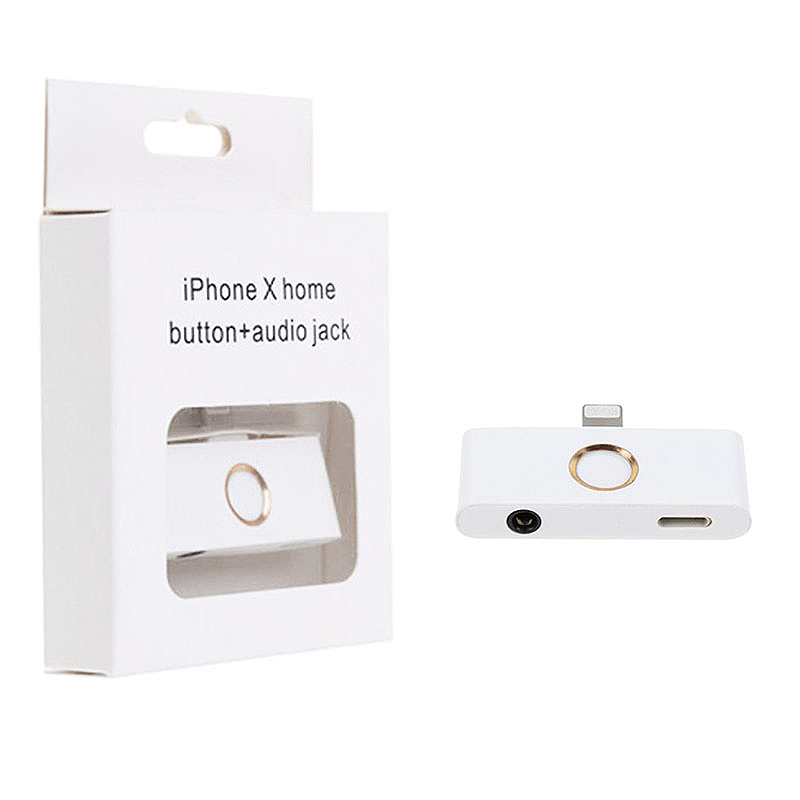 External Home Button Lightning to 3.5mm Headphone Audio Jack Charger Adapter Converter for iPhone X