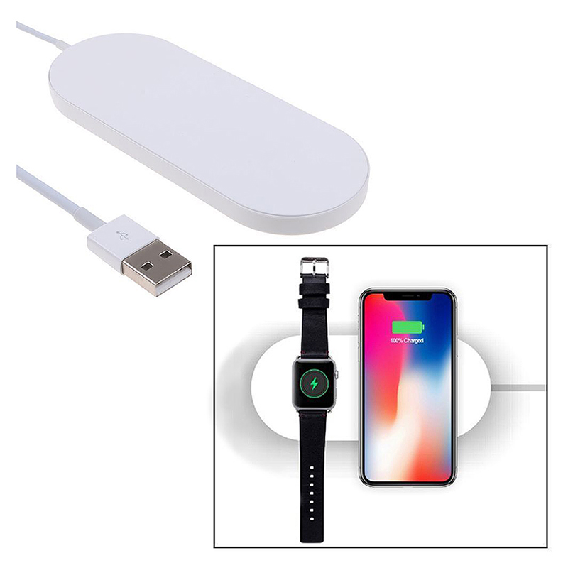 Qi Wireless Charger 2in1 Charging Dock Pad for iPhone X/8/8 Plus Apple Watch