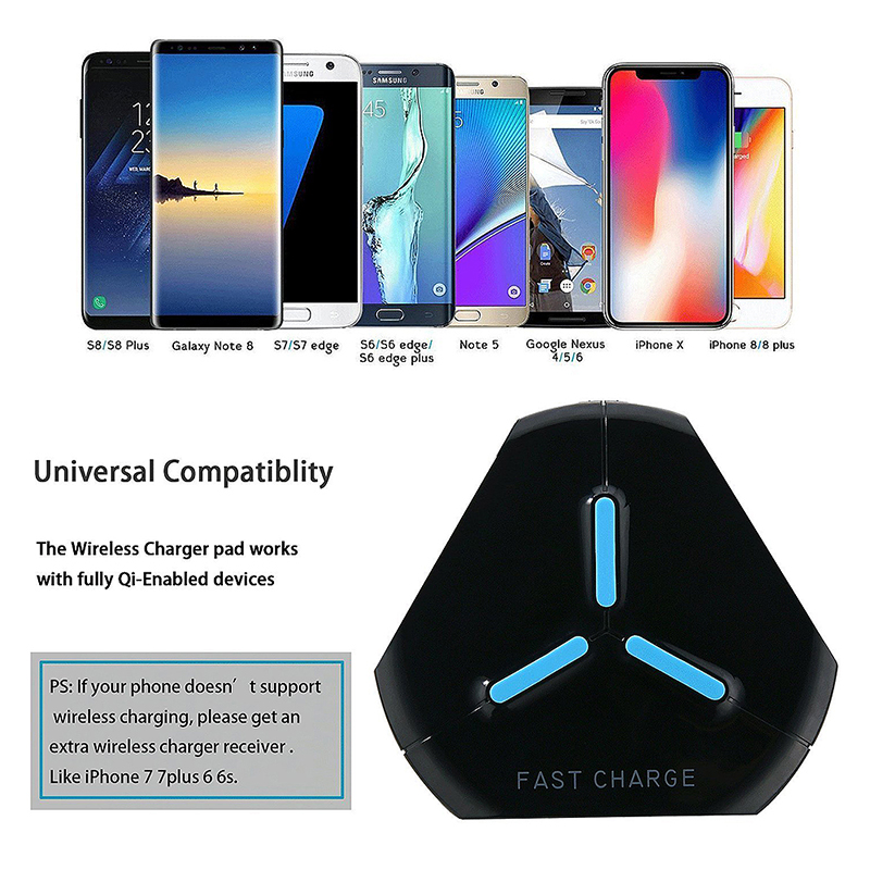 Q500 Qi Fast Wireless Charger Charging Pad for Samsung S8/S8 Plus Note 8 iPhone X/8 - Black