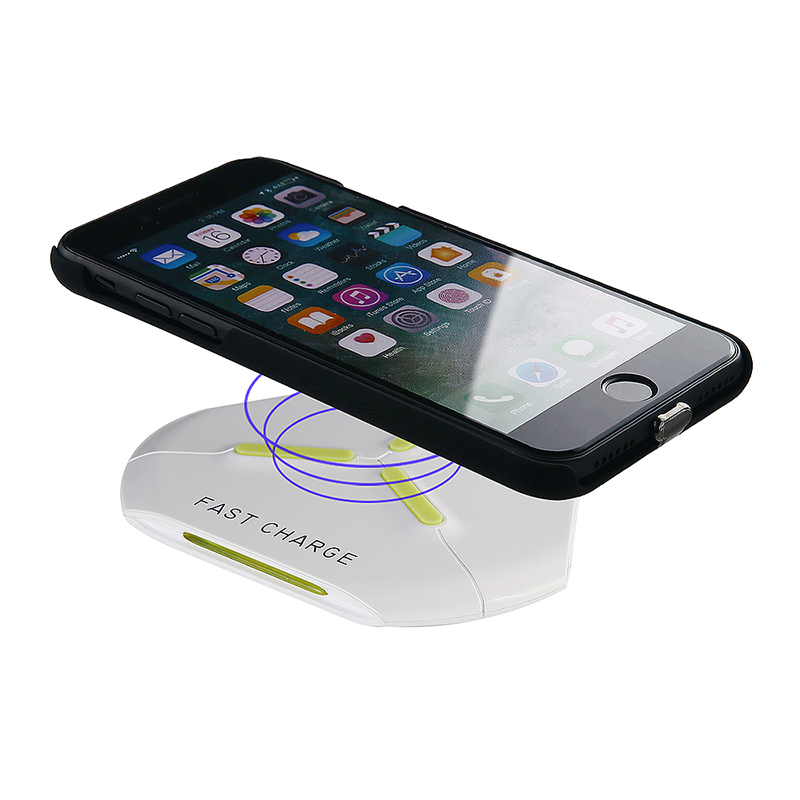 Q500 Qi Fast Wireless Charger Charging Pad for Samsung S8/S8 Plus Note 8 iPhone X/8 - White