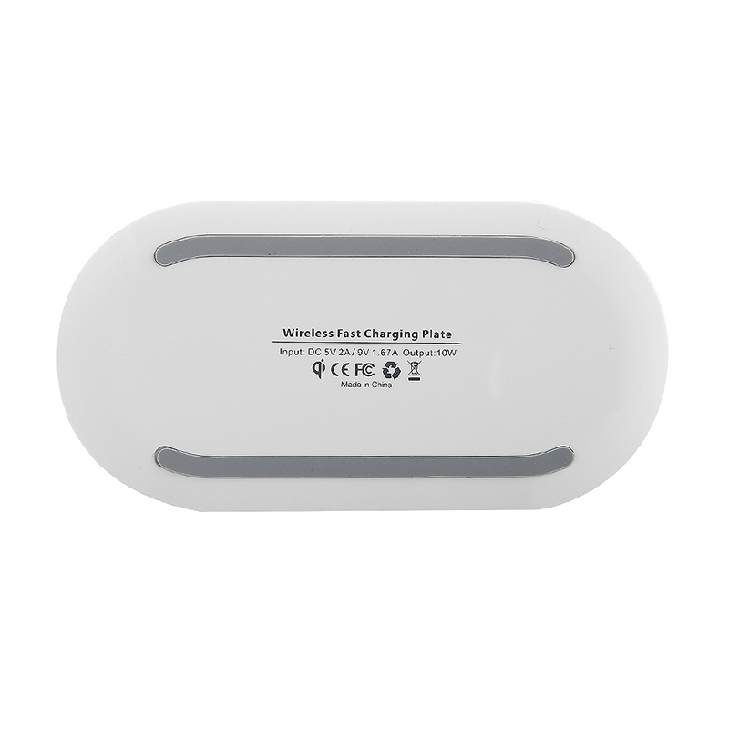 Qi Q100 Fast Wireless Charger Charging Pad Dock with Breathing LED for Samsung iPhone - White