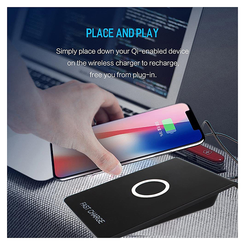 Qi Q200 Fast Wireless Charger Charging Dock Pad with LED Indicator for Smartphones - Black